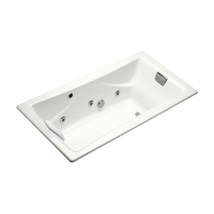 Shop KOHLER Tea-For-Two 71.75-in White Cast Iron Drop-In Whirlpool ...
