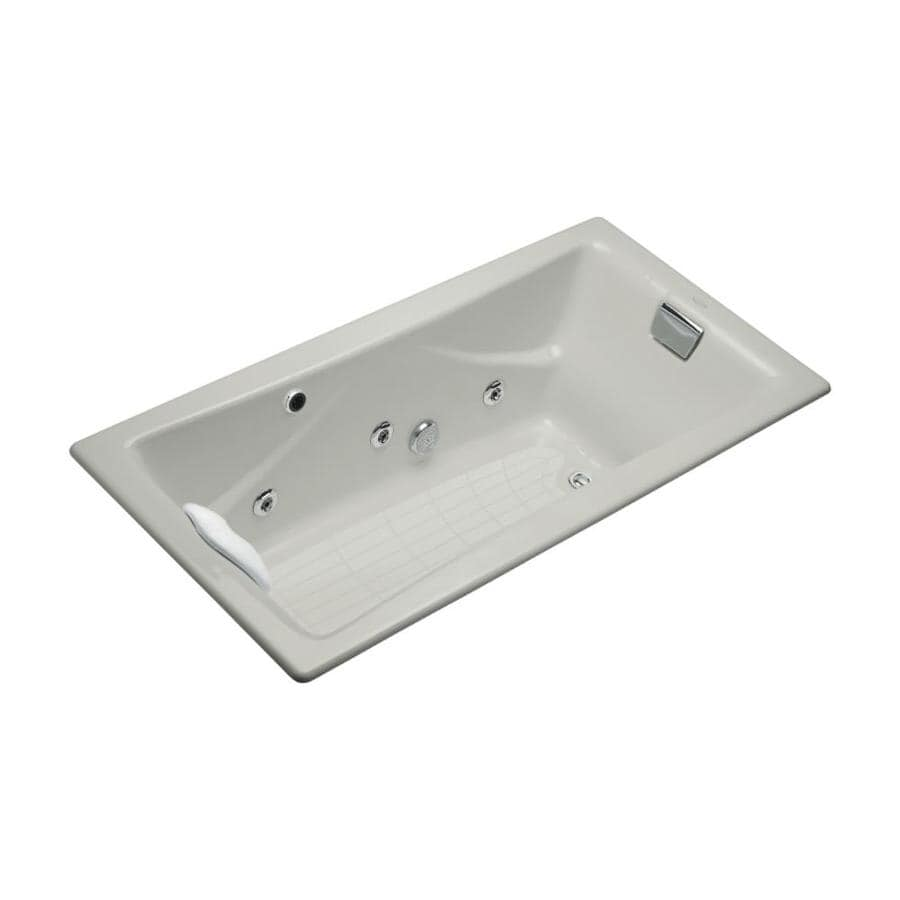 KOHLER Tea-For-Two 71.75-in Ice Grey Cast Iron Drop-In Whirlpool Tub with Reversible Drain