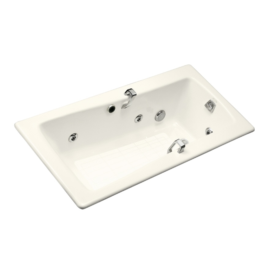 KOHLER Maestro Biscuit Cast Iron Rectangular Whirlpool Tub (Common: 32-in x 66-in; Actual: 18.25-in x 32-in x 66-in)