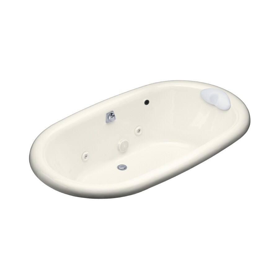 KOHLER Vintage 72-in Biscuit Cast Iron Drop-In Whirlpool Tub with Back Center Drain