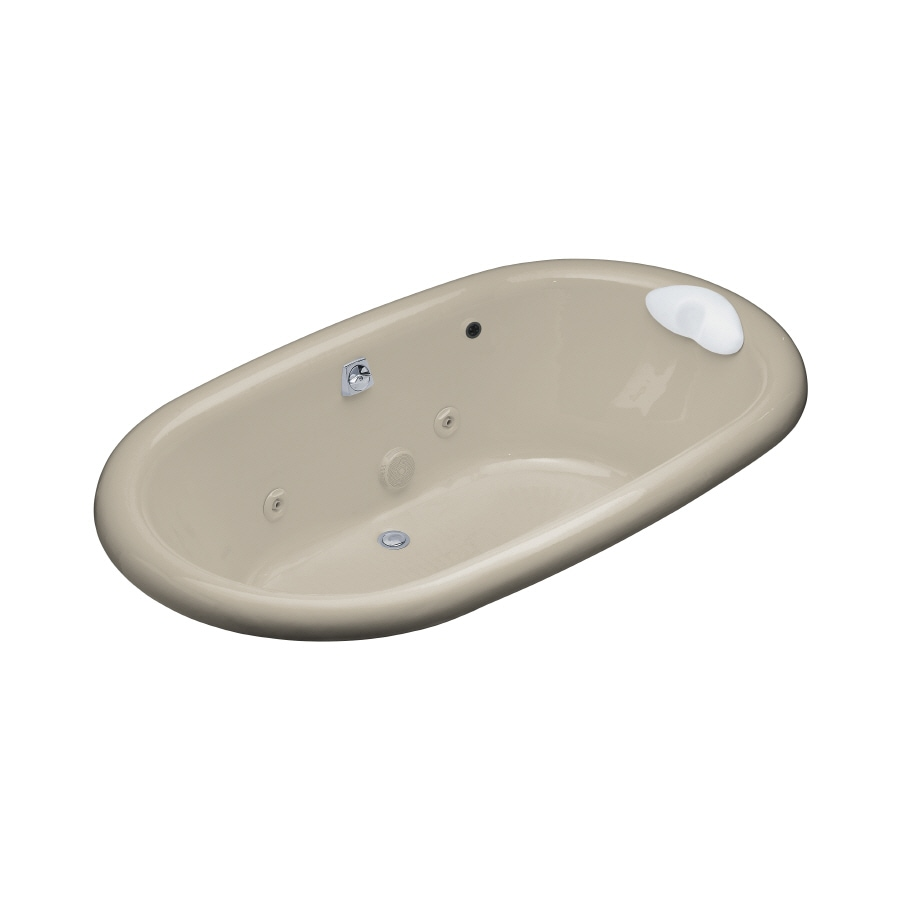 KOHLER Vintage 2-Person Sandbar Cast Iron Oval Whirlpool Tub (Common: 42-in x 72-in; Actual: 21.1875-in x 42-in x 72-in)