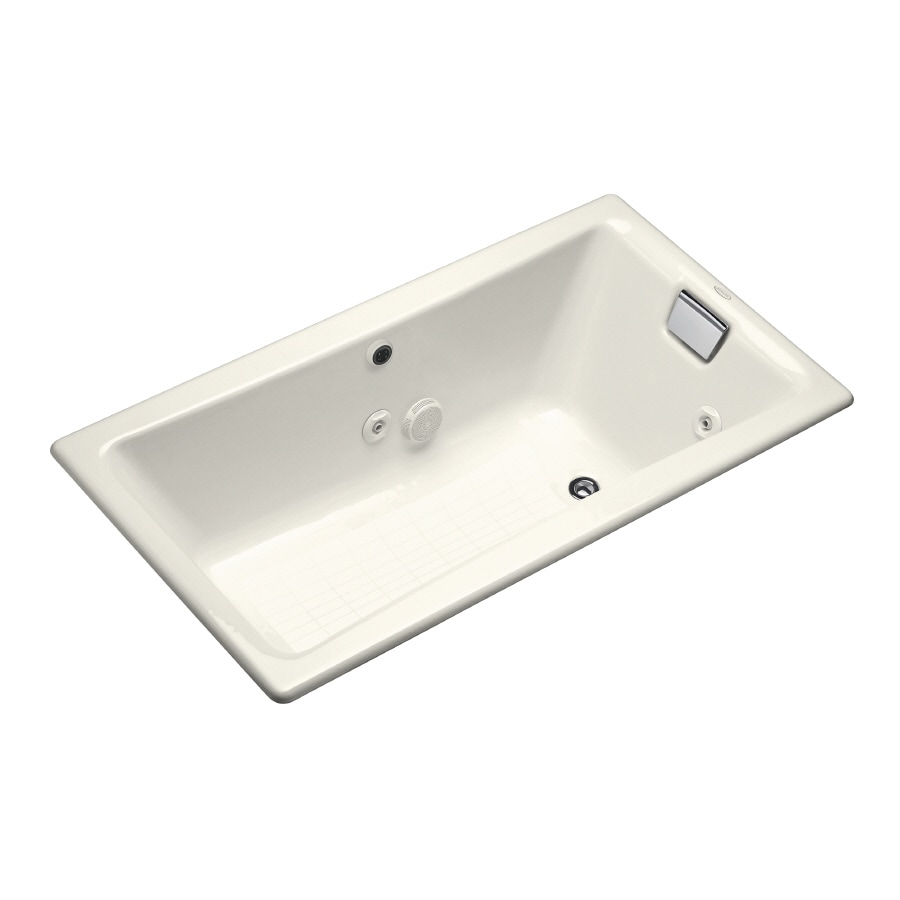 KOHLER Tea-For-Two 60-in Biscuit Cast Iron Drop-In Whirlpool Tub with Reversible Drain