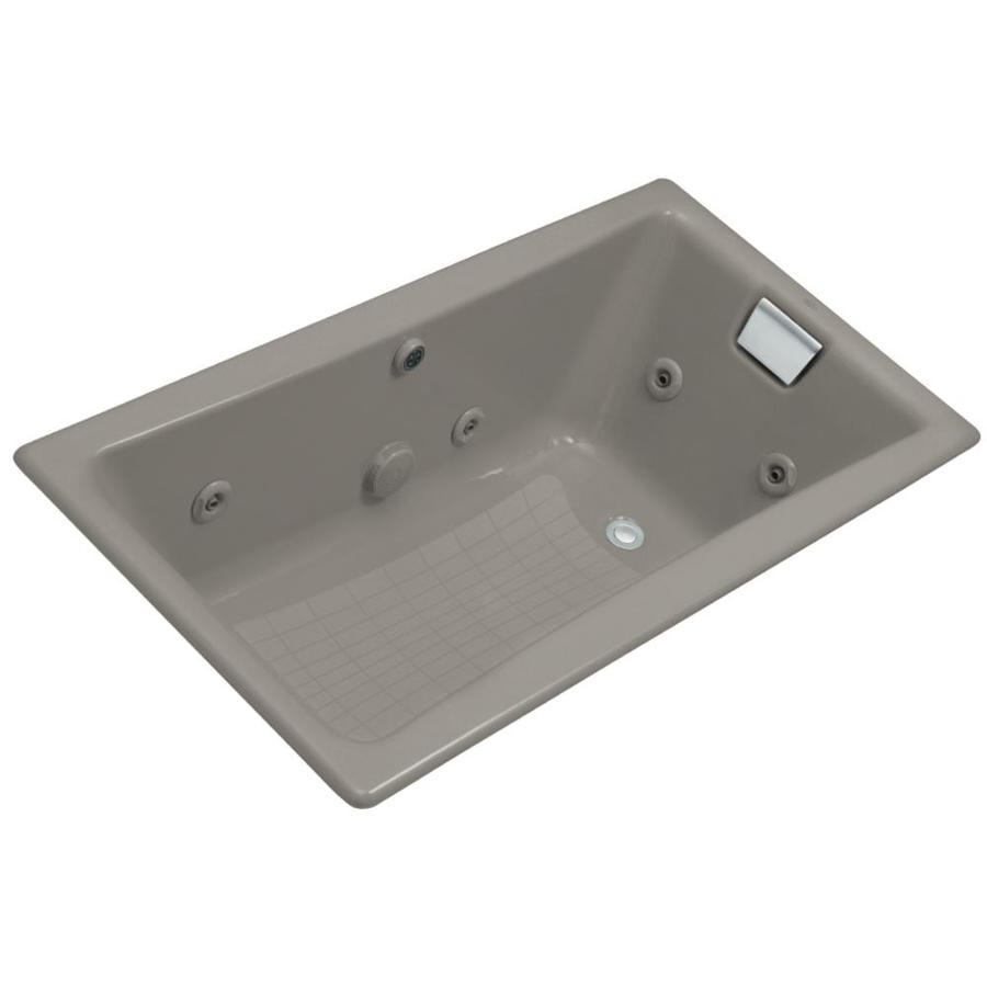 KOHLER Tea-For-Two 60-in Cashmere Cast Iron Drop-In Whirlpool Tub with Reversible Drain