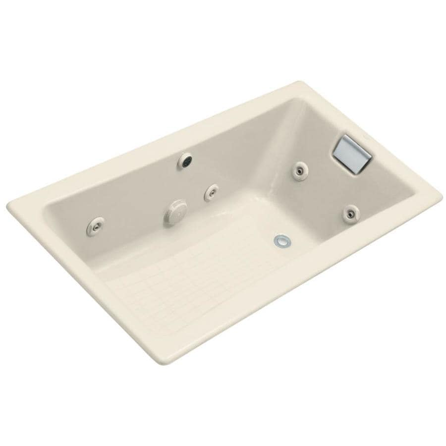 KOHLER Tea-For-Two 2-Person Almond Cast Iron Rectangular Whirlpool Tub (Common: 32-in x 60-in; Actual: 18.25-in x 32-in x 60-in)
