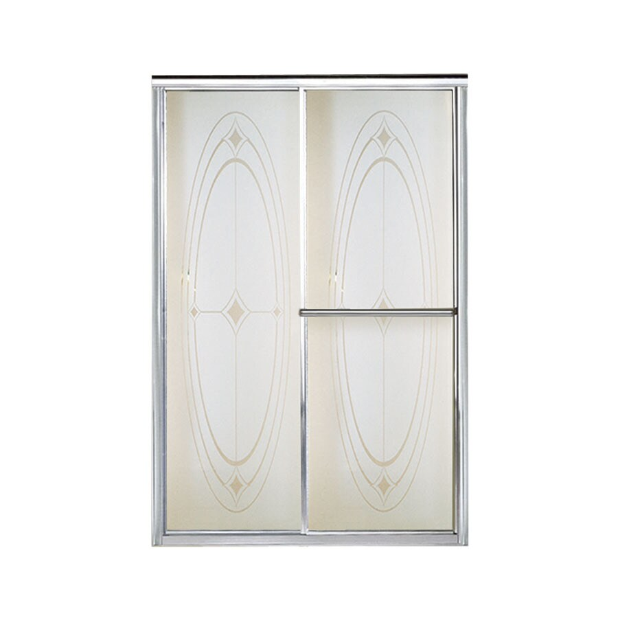 Sterling Deluxe 54.375-in to 59.375-in W Framed Silver Sliding Shower Door