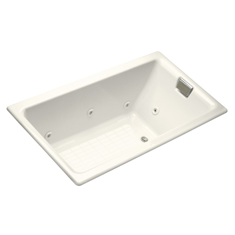 KOHLER Tea-For-Two 2-Person Biscuit Cast Iron Rectangular Whirlpool Tub (Common: 36-in x 66-in; Actual: 24-in x 36-in x 66-in)