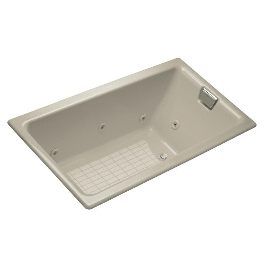 KOHLER Tea-For-Two 66-in Sandbar Cast Iron Drop-In Whirlpool Tub with Reversible Drain