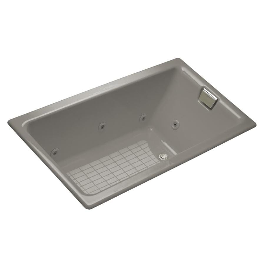 KOHLER Tea-For-Two 66-in Cashmere Cast Iron Drop-In Whirlpool Tub with Reversible Drain