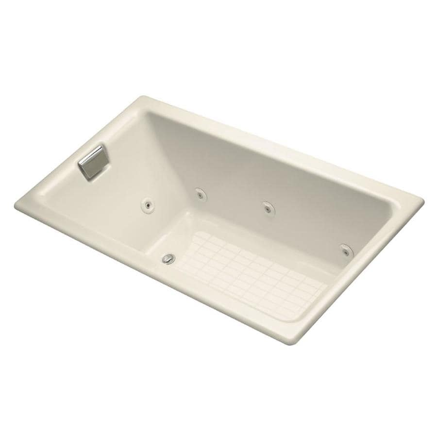 KOHLER Almond Cast Iron Rectangular Whirlpool Tub (Common: 36-in x 66-in; Actual: 24-in x 36-in)