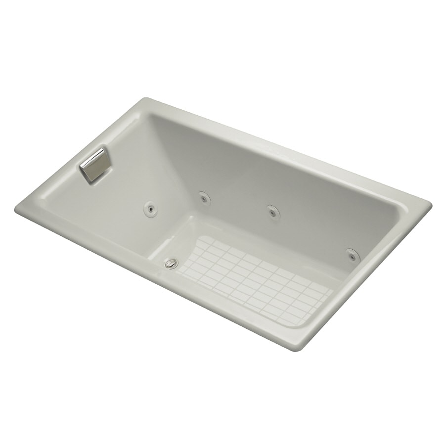 KOHLER 66-in Ice Grey Cast Iron Whirlpool Tub with Drain