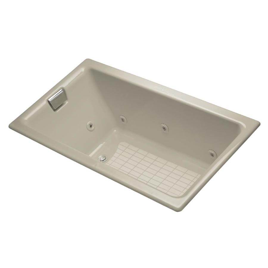 KOHLER Sandbar Cast Iron Rectangular Whirlpool Tub (Common: 36-in x 66-in; Actual: 24-in x 36-in)