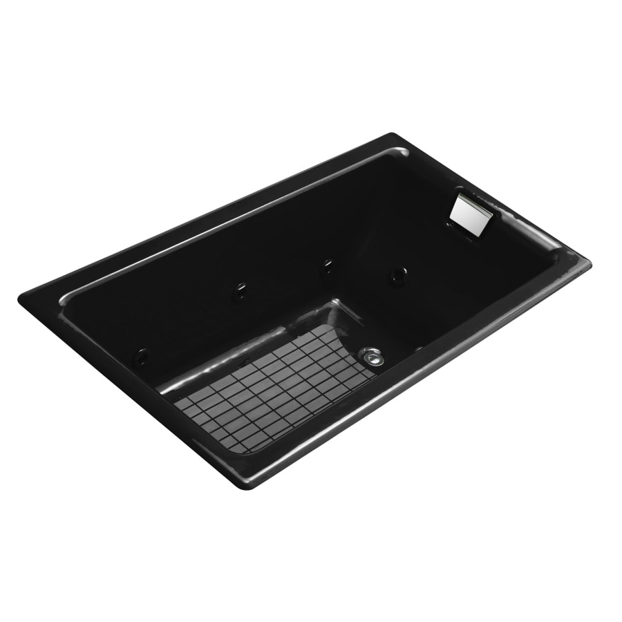 KOHLER Tea-For-Two Black Black Cast Iron Rectangular Whirlpool Tub (Common: 36-in x 66-in; Actual: 24.0-in x 36.0-in x 66.0-in)