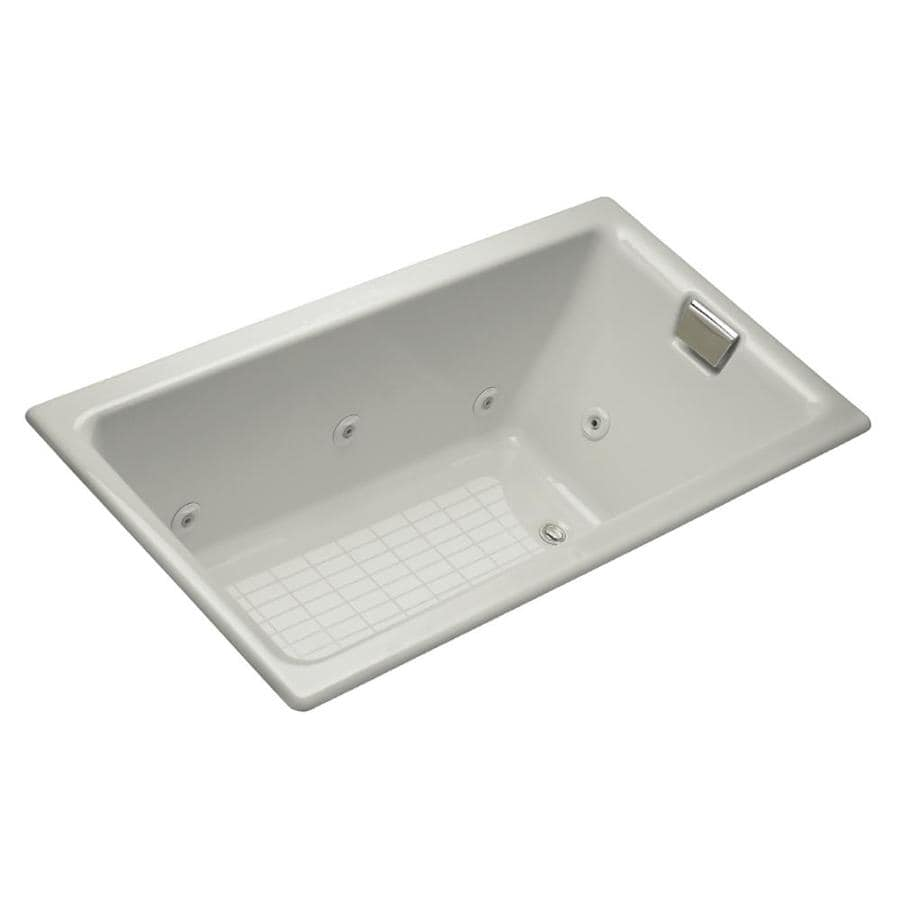 KOHLER Tea-for-Two 66-in Ice Grey Cast Iron Alcove Whirlpool Tub with Right-Hand Drain