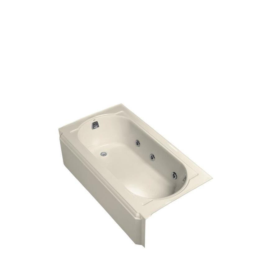 KOHLER Memoirs Almond Cast Iron Oval In Rectangle Whirlpool Tub (Common: 34-in x 60-in; Actual: 17.4375-in x 33.75-in x 60-in)