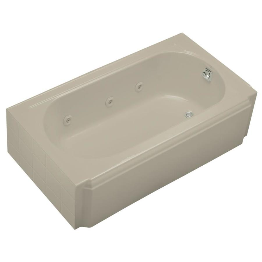KOHLER Memoirs Sandbar Cast Iron Oval In Rectangle Whirlpool Tub (Common: 34-in x 60-in; Actual: 17.4375-in x 33.75-in x 60-in)