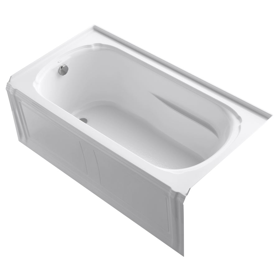 KOHLER Portrait White Acrylic Oval In Rectangle Skirted Bathtub with Left-Hand Drain (Common: 32-in x 60-in; Actual: 20-in x 32-in x 60-in)