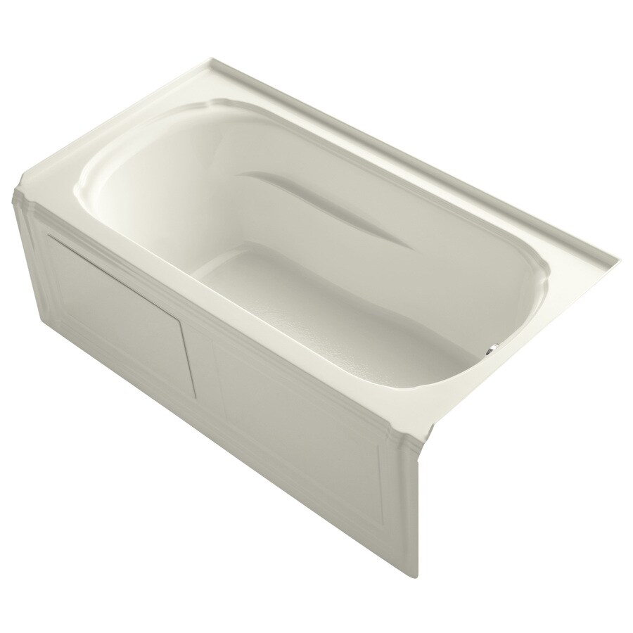 KOHLER Portrait Biscuit Acrylic Oval In Rectangle Skirted Bathtub with Right-Hand Drain (Common: 32-in x 60-in; Actual: 20-in x 32-in x 60-in)