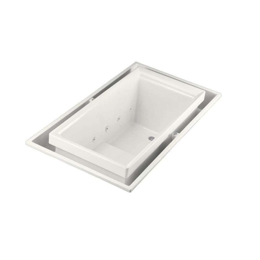 KOHLER Sok 75-in White Acrylic Drop-In Bathtub with Right-Hand Drain