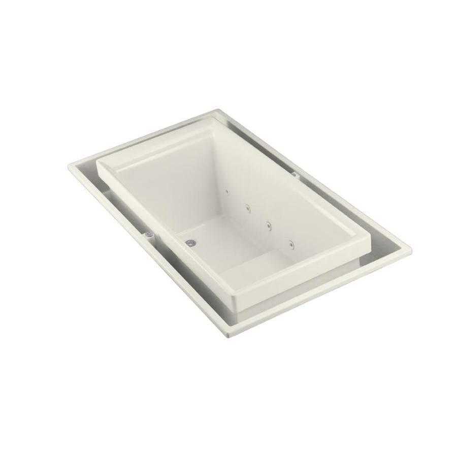 KOHLER Sok Biscuit Acrylic Rectangular Drop-in Bathtub with Left-Hand Drain (Common: 41-in x 75-in; Actual: 25-in x 41-in x 75-in)