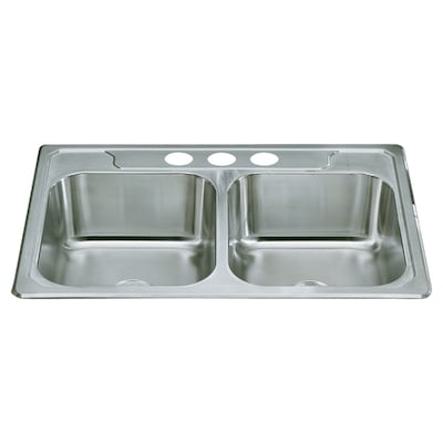 Sterling Middleton 33-in x 22-in Satin Double-Basin Drop-In ...
