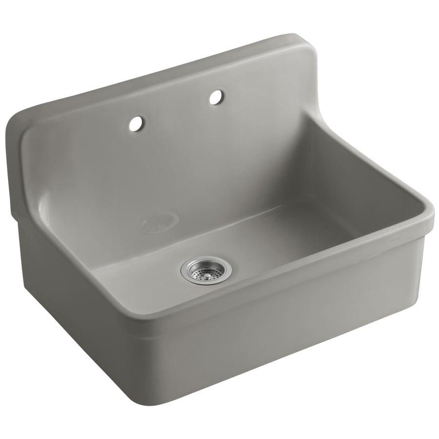 KOHLER Gilford 22-in x 30-in Cashmere Single-Basin Porcelain Drop-In Commercial/Residential Kitchen Sink