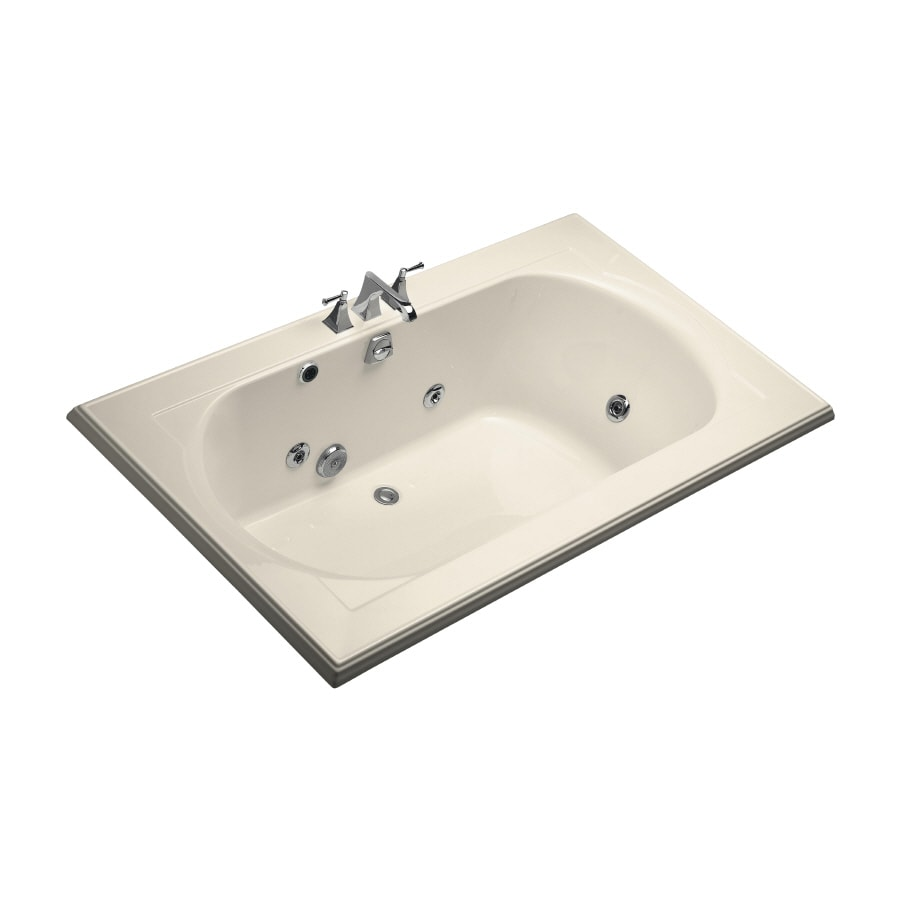 KOHLER Memoirs 72-in Almond Acrylic Drop-In Whirlpool Tub with Back Center Drain