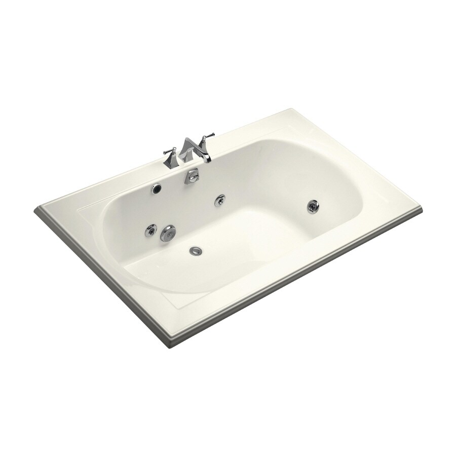 KOHLER Memoirs 72-in Biscuit Acrylic Drop-In Whirlpool Tub with Back Center Drain