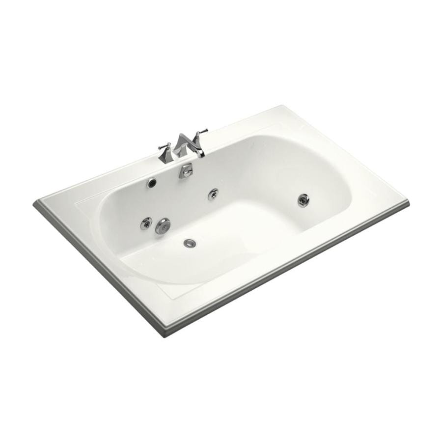 KOHLER Memoirs 72-in White Acrylic Drop-In Whirlpool Tub with Back Center Drain