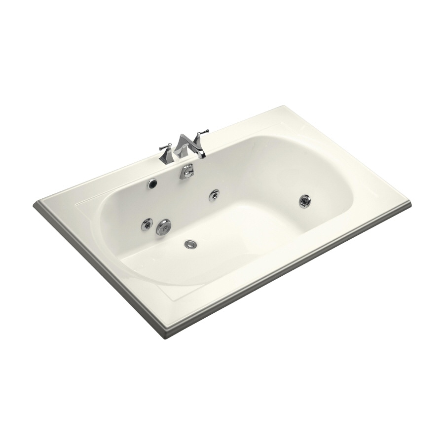 KOHLER Memoirs 2-Person Biscuit Acrylic Oval In Rectangle Whirlpool Tub (Common: 42-in x 72-in; Actual: 22-in x 42-in x 72-in)