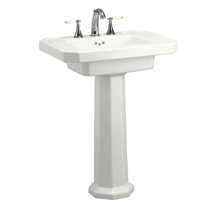KOHLER Kathryn 35-in H White Fire Clay Pedestal Sink