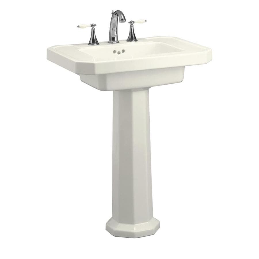 KOHLER Kathryn 35-in H Biscuit Fire Clay Pedestal Sink
