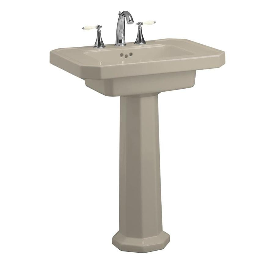 KOHLER Kathryn 35-in H Sandbar Fire Clay Pedestal Sink