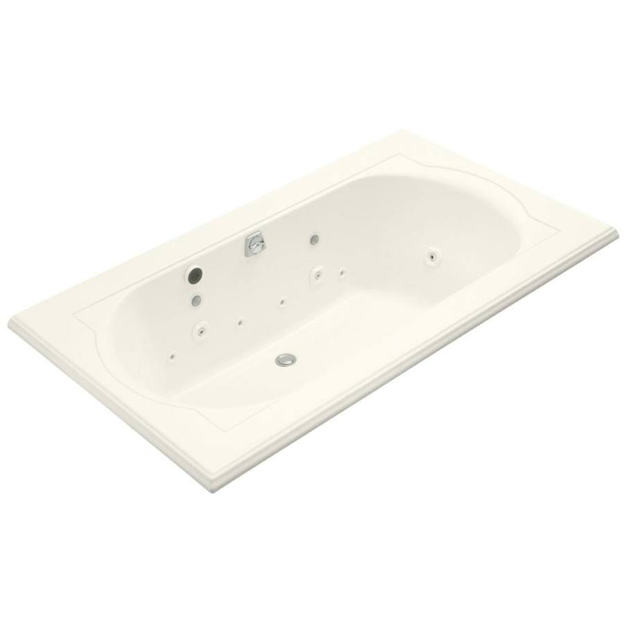 KOHLER Memoirs Biscuit Acrylic Oval In Rectangle Whirlpool Tub (Common: 42-in x 72-in; Actual: 22-in x 42-in x 72-in)