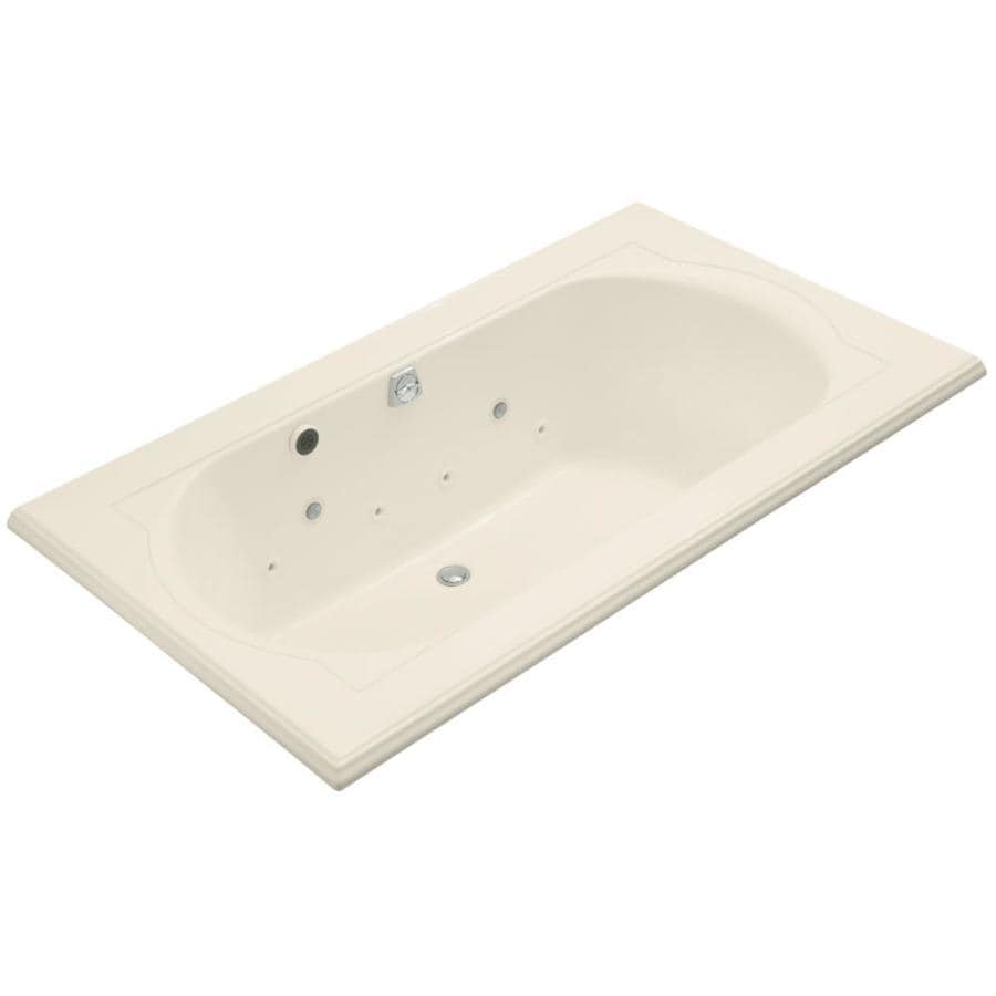 KOHLER Memoirs Almond Acrylic Oval In Rectangle Whirlpool Tub (Common: 42-in x 72-in; Actual: 22.0000-in x 42.0000-in x 72.0000-in)