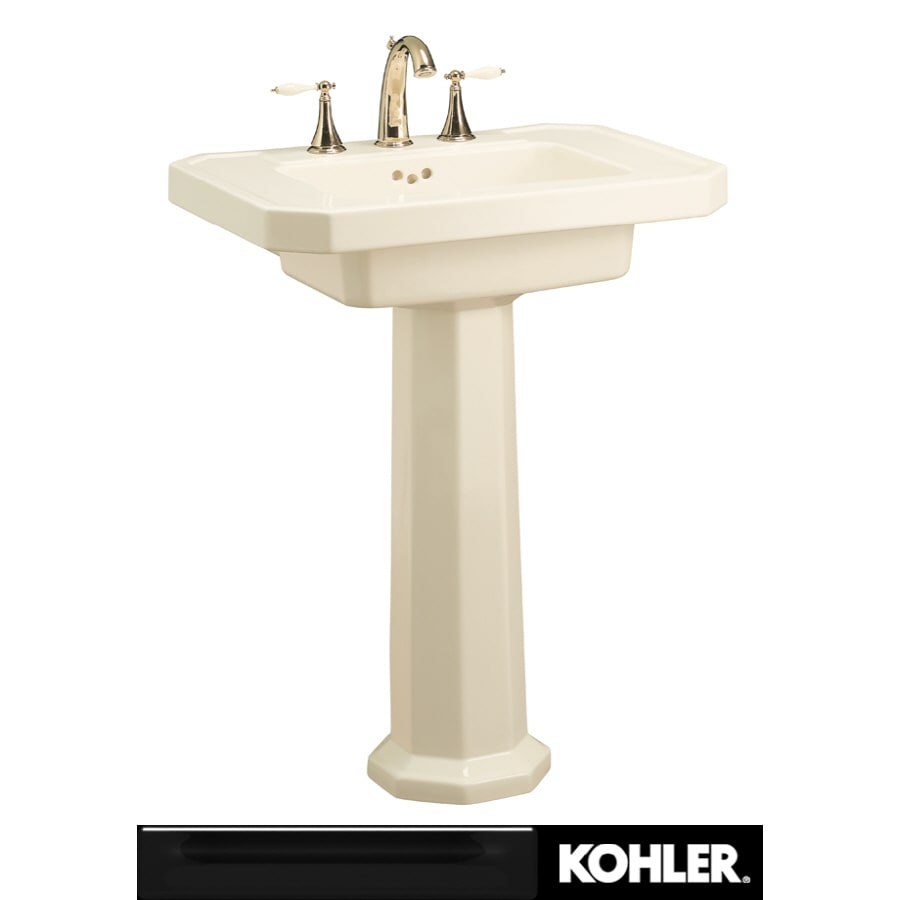 KOHLER Kathryn 35-in H Black Black Fire Clay Pedestal Sink