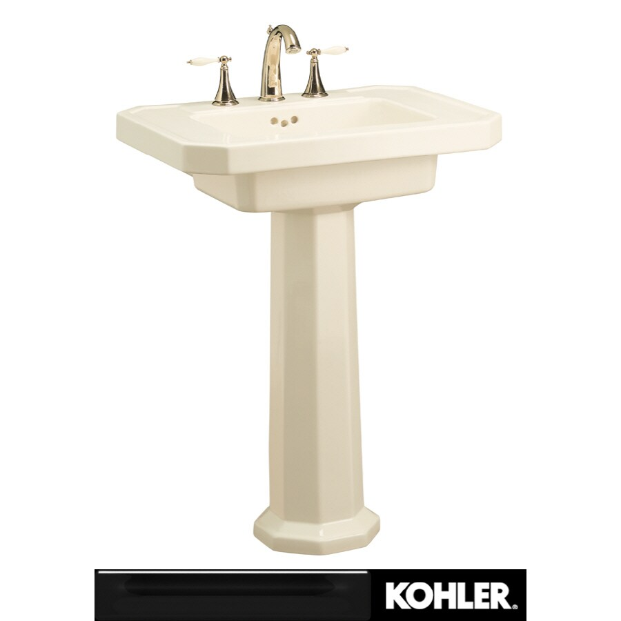 Kohler Pedestal : Shop KOHLER Kathryn 35-in H Black Black Fire Clay Pedestal Sink at ...