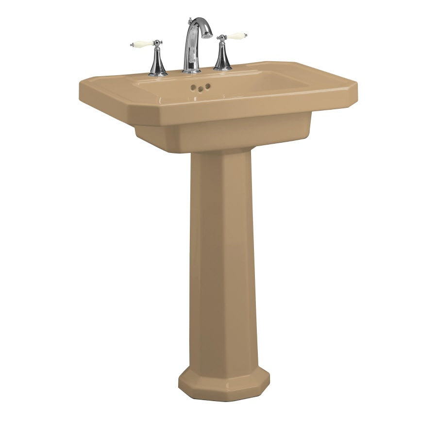 KOHLER Kathryn 35-in H Mexican Sand Fire Clay Pedestal Sink