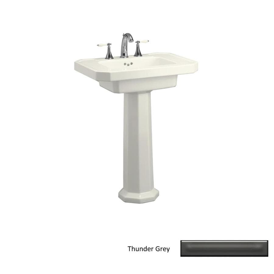 Shop KOHLER Kathryn 35-in H Thunder Grey Fire Clay Pedestal Sink at ...