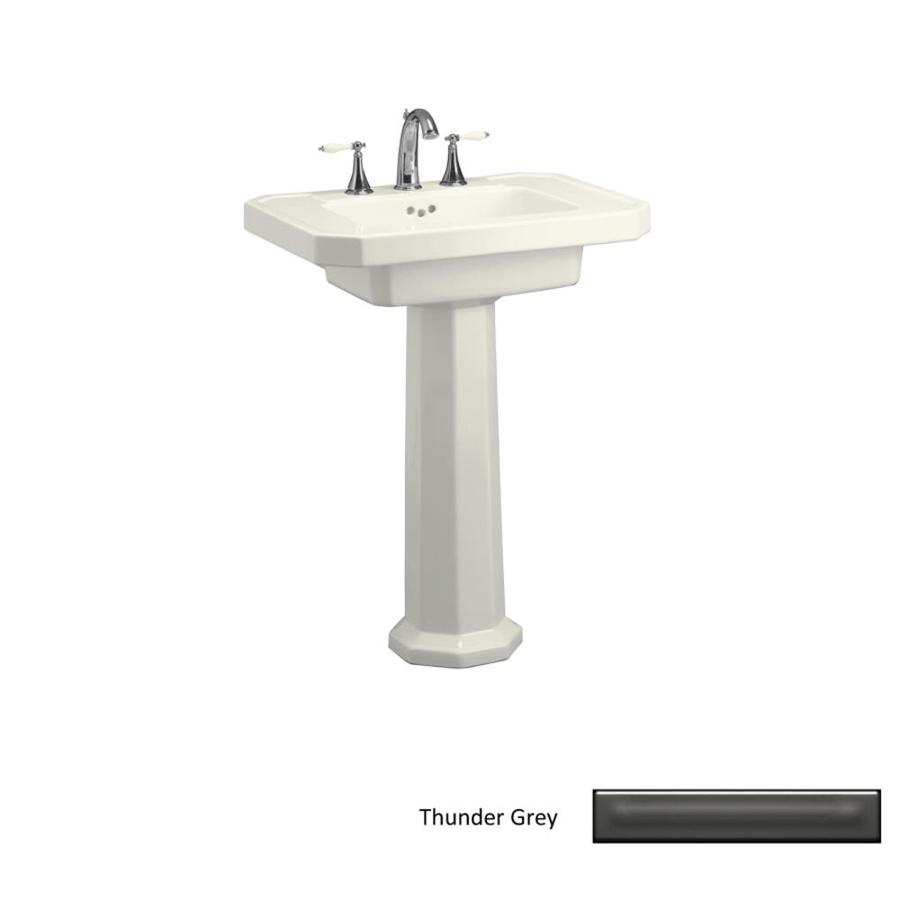 KOHLER Kathryn 35-in H Thunder Grey Fire Clay Pedestal Sink