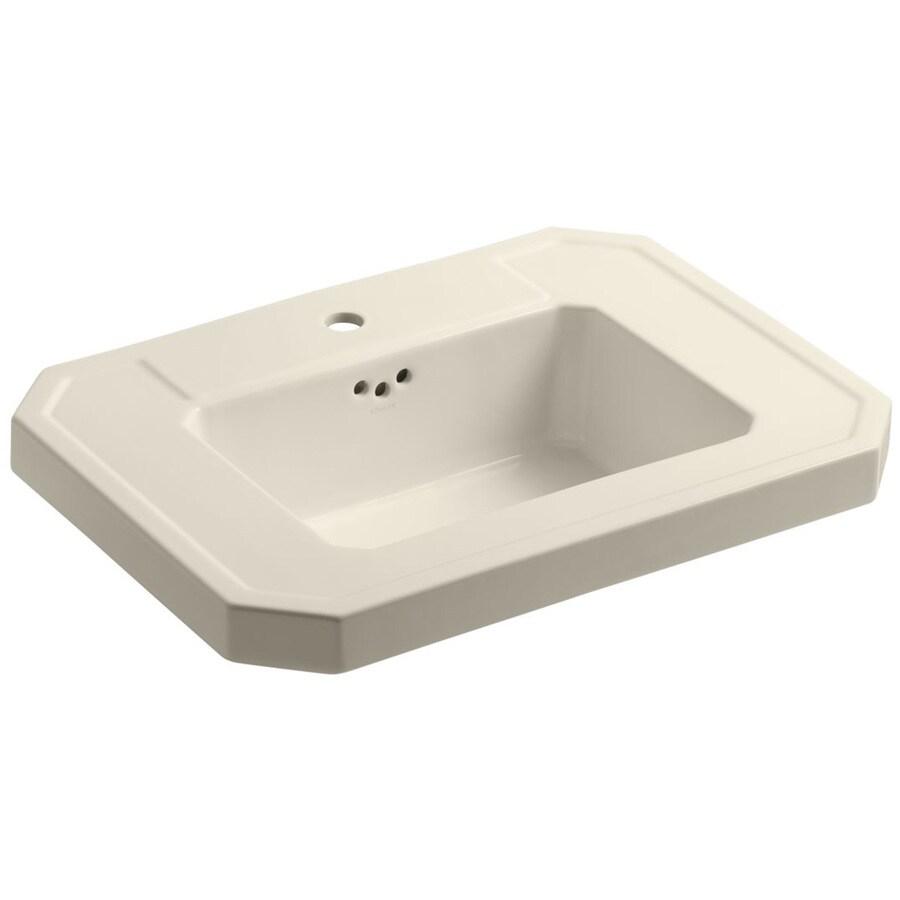 KOHLER Kathryn 27-in L x 20-in W Almond Fire Clay Rectangular Pedestal Sink Top