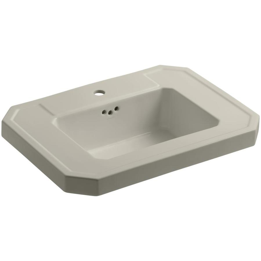 KOHLER Kathryn 27-in L x 20-in W Sandbar Fire Clay Rectangular Pedestal Sink Top