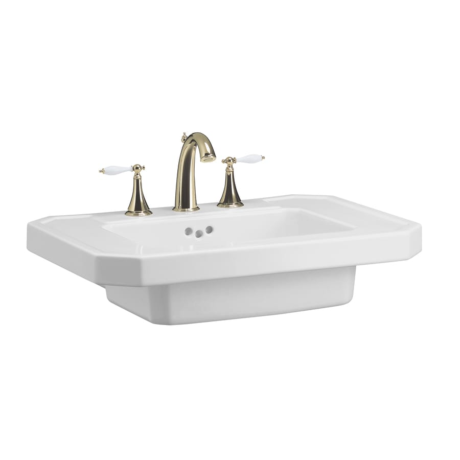 KOHLER Kathryn 27-in L x 20-in W White Fire Clay Rectangular Pedestal Sink Top