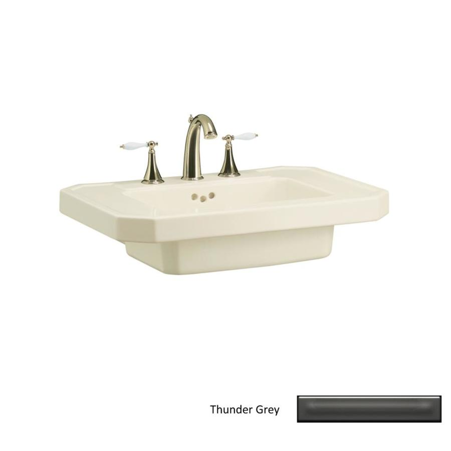 KOHLER Kathryn 27-in L x 20-in W Thunder Grey Fire Clay Rectangular Pedestal Sink Top
