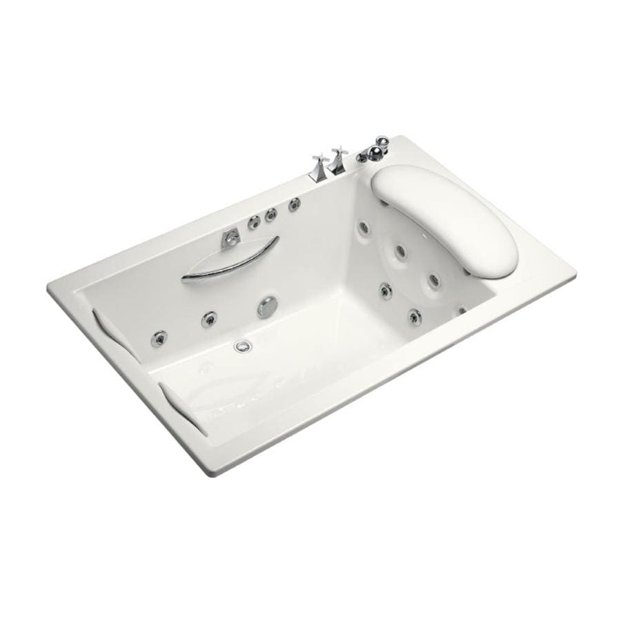 KOHLER Riverbath 75-in White Acrylic Drop-In Whirlpool Tub with Back Center Drain