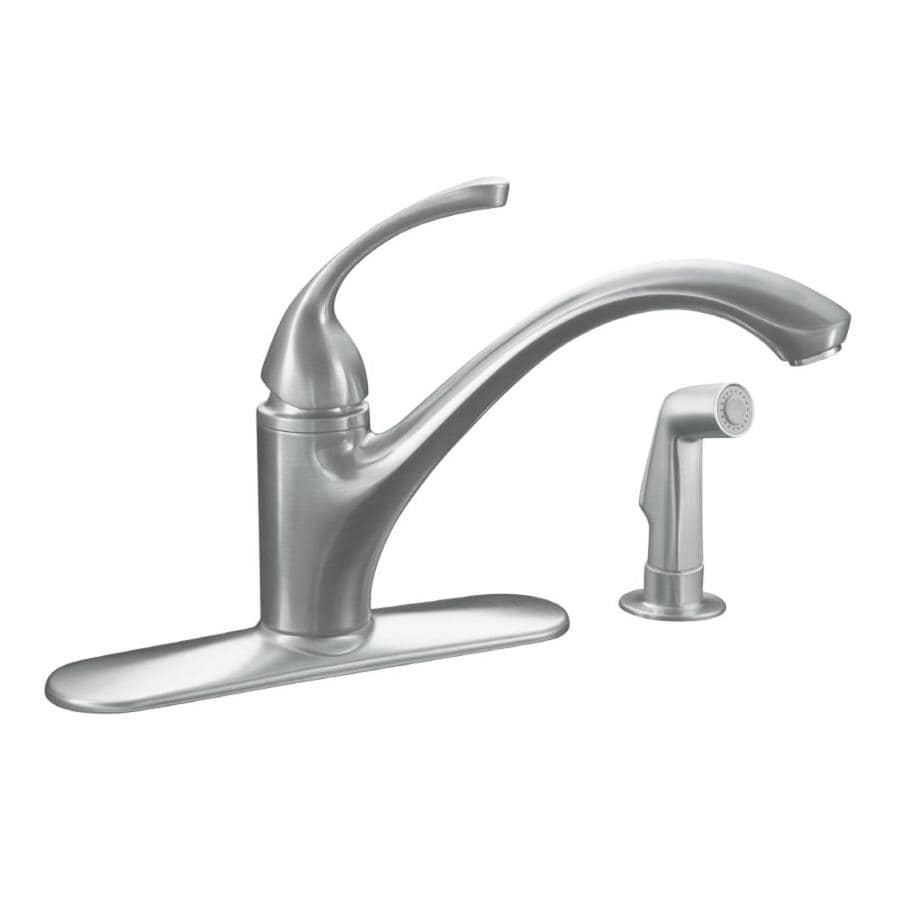 Low Arc Kitchen Faucet Shop Kohler Forte Brushed Chrome 1 Handle Low Arc Kitchen Faucet