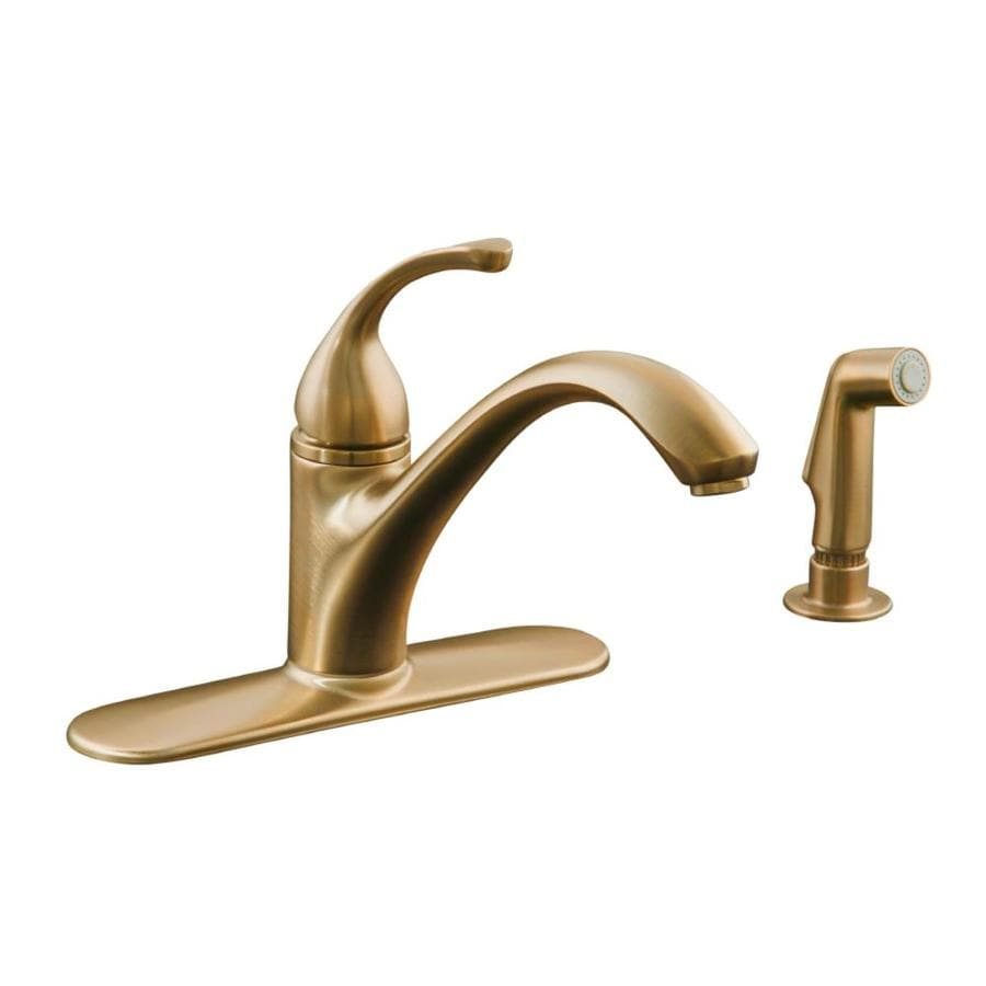 Shop KOHLER Forte Vibrant Brushed Bronze Handle LowArc Kitchen - Low arc kitchen faucet