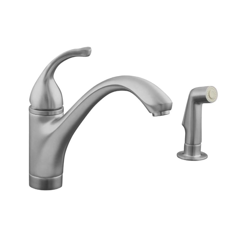 KOHLER Forte Brushed Chrome 1-Handle Low-Arc Kitchen Faucet with Side Spray