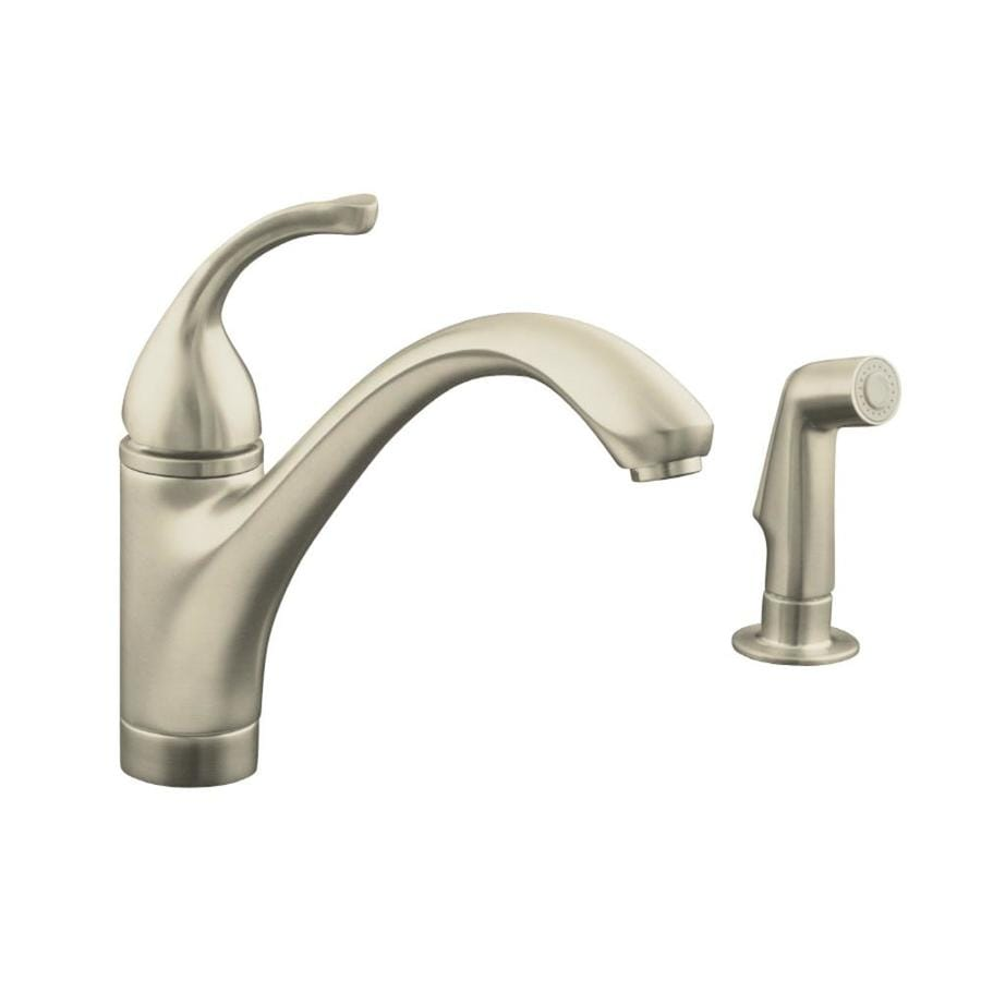 KOHLER Forte Vibrant Brushed Nickel 1-Handle Low-Arc Kitchen Faucet with Side Spray