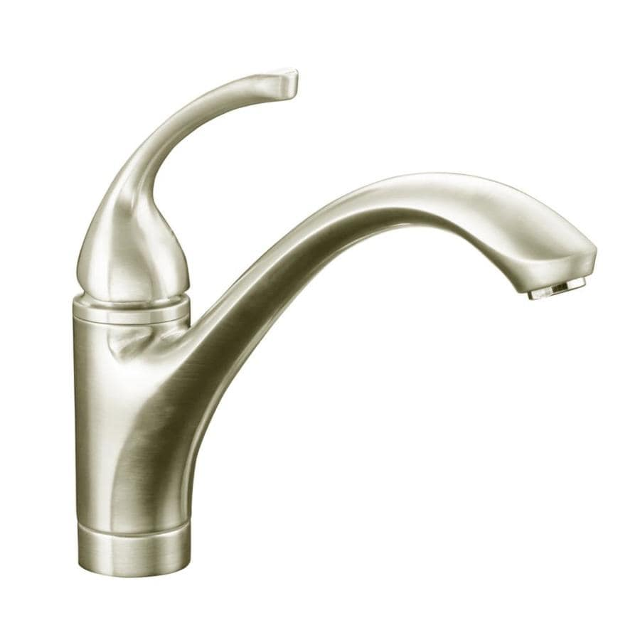 KOHLER Forte Vibrant Brushed Nickel 1-Handle Low-Arc Kitchen Faucet