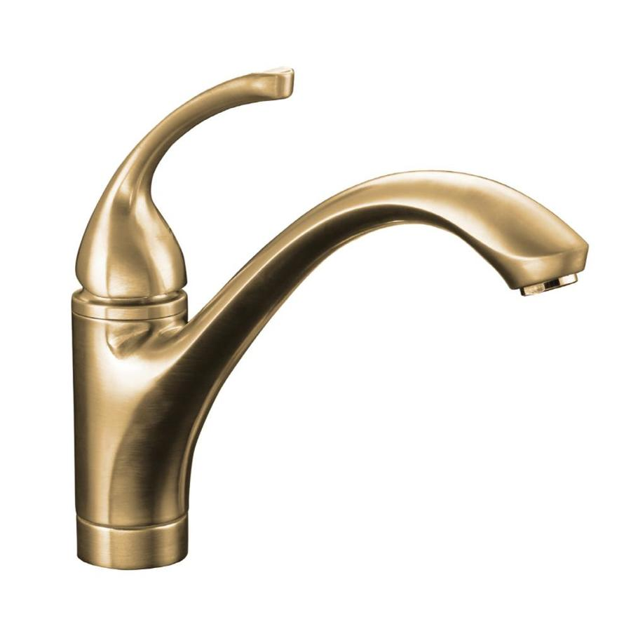 KOHLER Forte Vibrant Brushed Bronze 1-handle Deck Mount Low-arc Stream/Spray Kitchen Faucet
